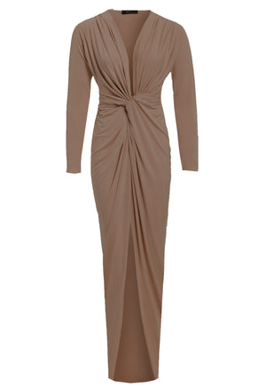 BIANCA - Mocha Plunge front knot maxi dress