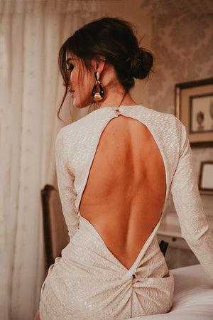 Sandra Majada in Long Sleeve Backless Stone Dress Morena in Stone
