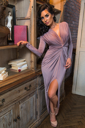 Mocha Long Sleeve Plunge Front Knot Maxi Dress With Slit