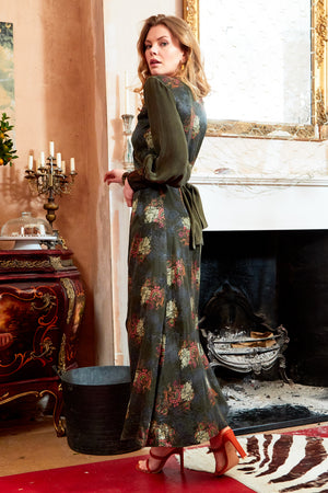 VERDANT - V-neck Jacquard Wrap Maxi Dress with Side Slit