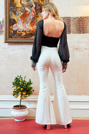 Ivory High Waisted Ribbed Flared Trousers