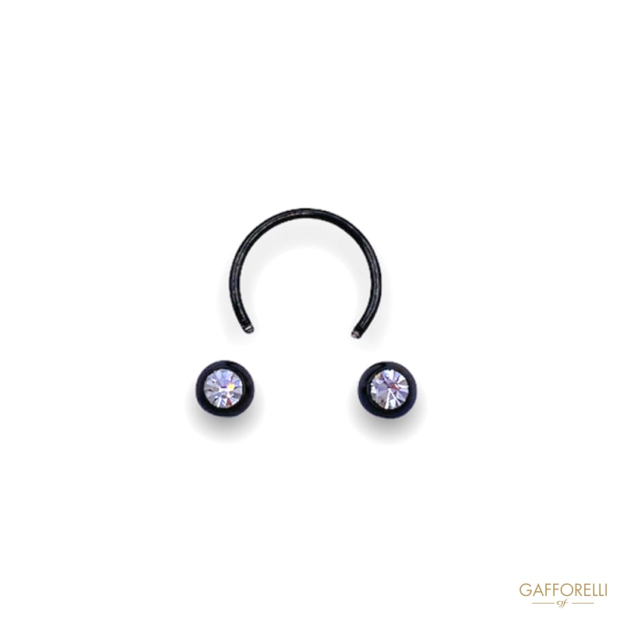 Black Unscrewable Piercing with Jeweled Balls U300 -