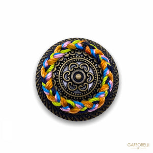 Ethnic Metal Button with Colored Threads B163 - Gafforelli