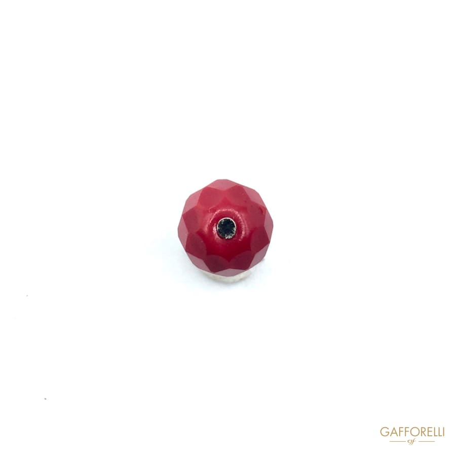 Faccetted Buttons in Real Glass Red - Art. St-4 Col. 79