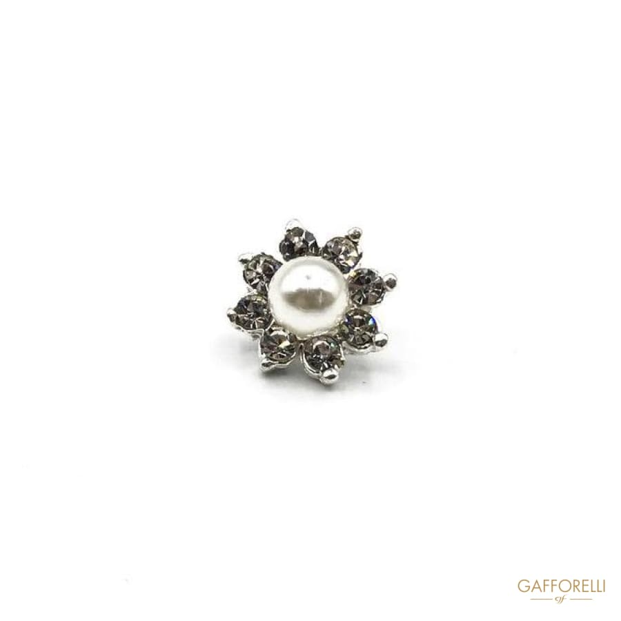 Flower Rhinestones Button with Central Pearl - Art. A190