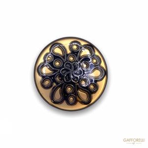 Metal Button with Flower Effect B166 - Gafforelli Srl ETHNIC