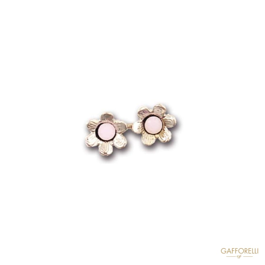 Metal Cufflink Decorated with Flowers 2 Cm - Art. 5004 Gem
