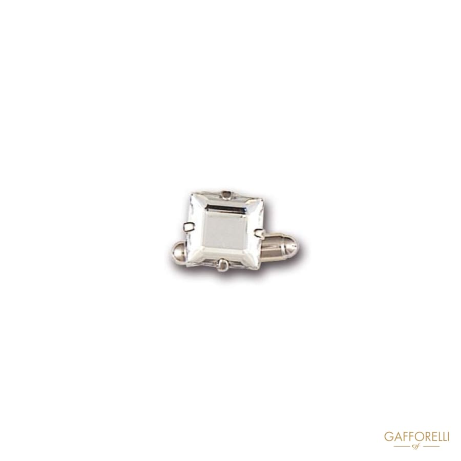 Metal Cufflink Decorated with Square Rhinestone 1.5 Cm -