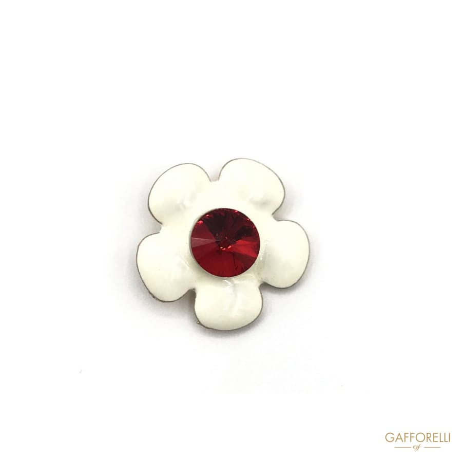 Metal Enamel Flower Button with Central Rhinestone - Art.