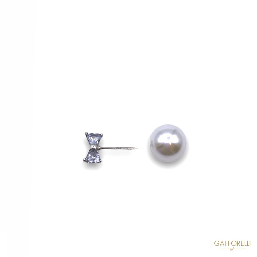 Pin with Pearl and Ribbon Shape Rhinestones E175 -