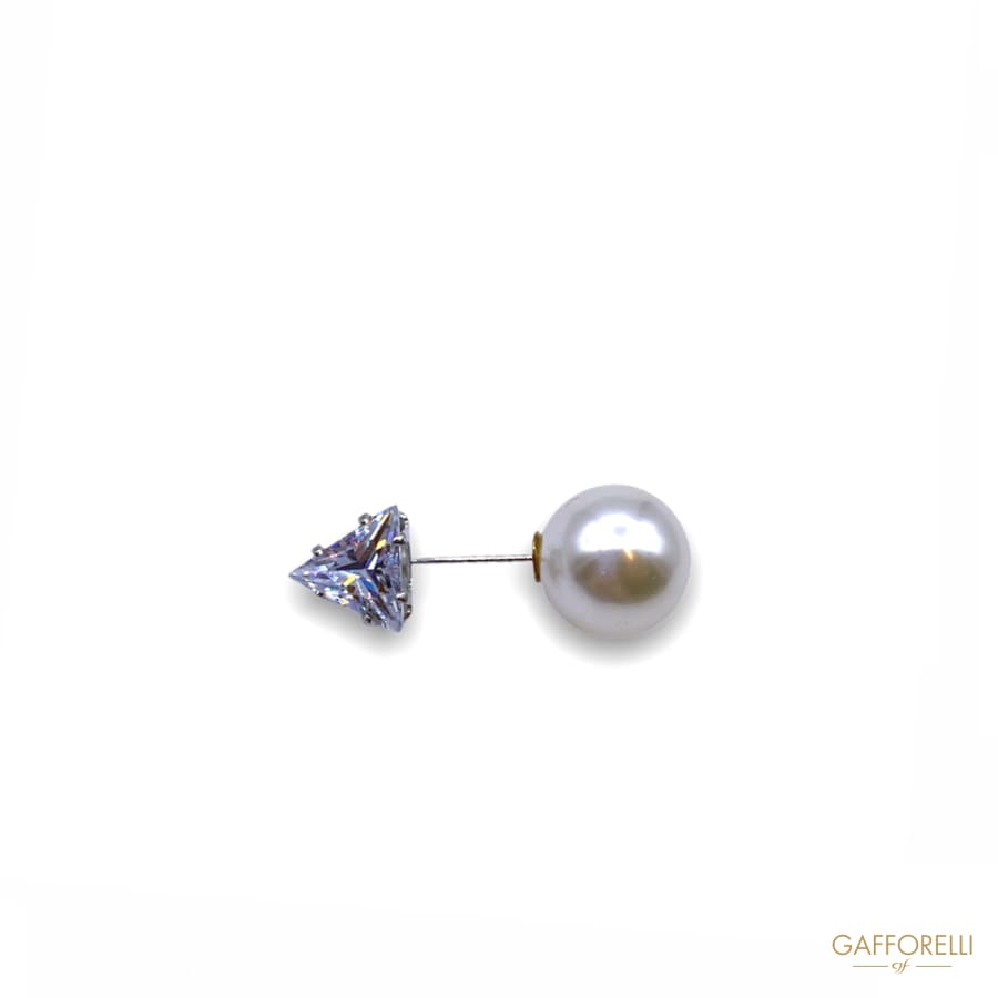 Pin with Pearl and Triangle Shape Rhinestones E176 -