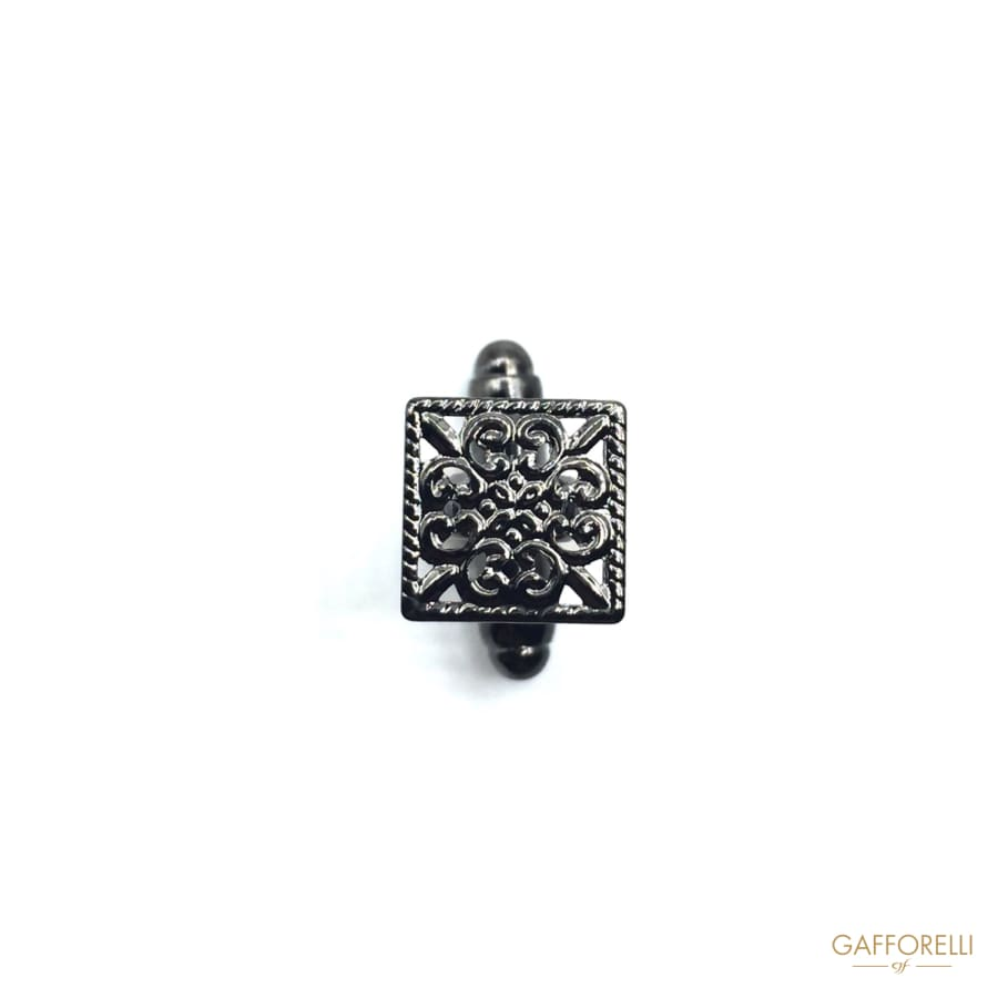 Rectangular Metal Cufflink with Rilief Decoration 1 Cm -