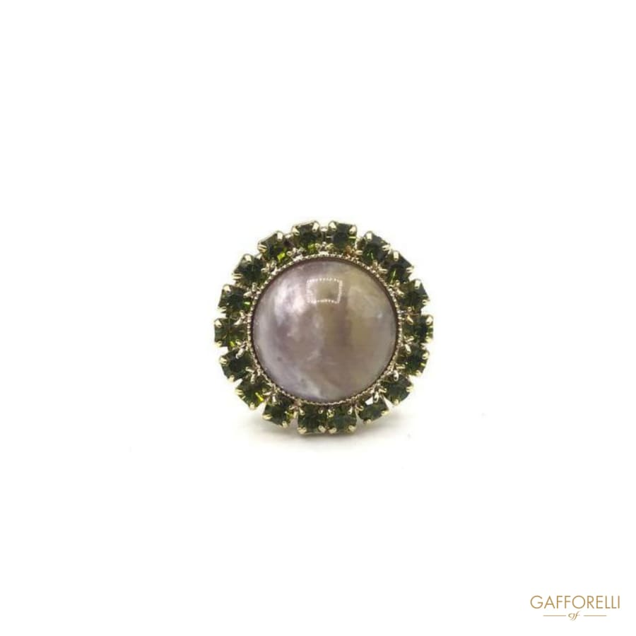 Rhinestone cufflink with central stone MOP effect - Art.