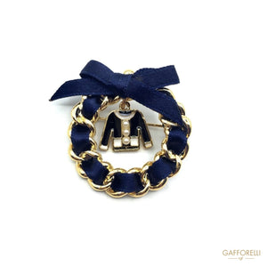Ribbon Chain Brooch and little Charm 3 Cm - Art. 2851 B