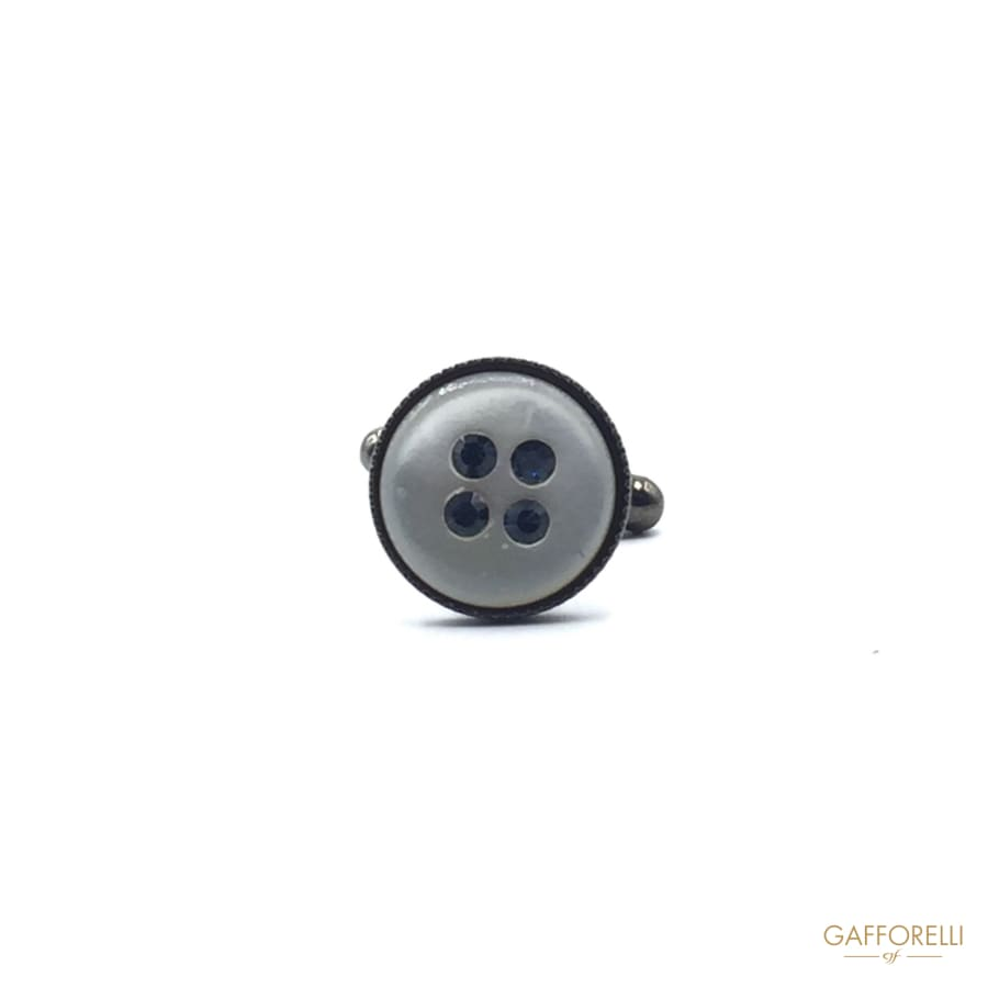 Round Cufflink with Nacre Decoration and Rhinestone 1 Cm -