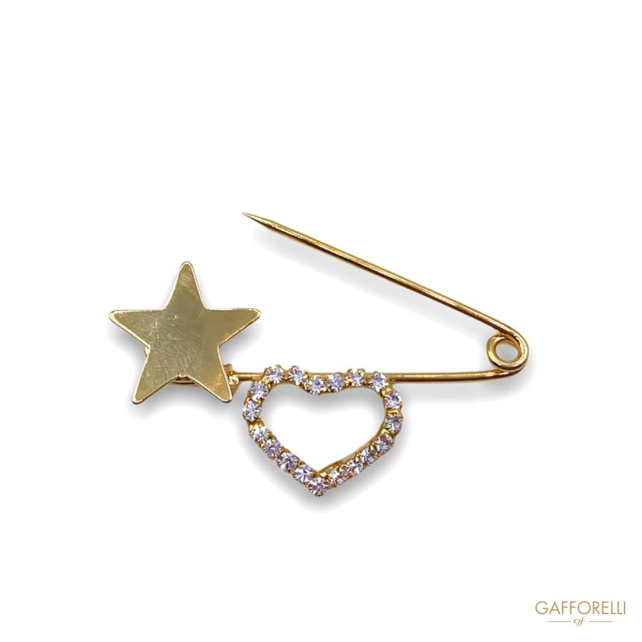 Safety Pins in Golden Metal with Rhinestones E148 -