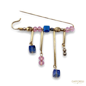 Safety Pins Jewel with Pearls and Gold Details A476 -