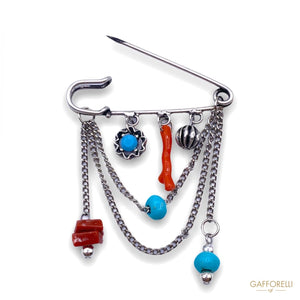 Safety Pins Marine Pendant Chain with Coral and Beads 2154 -