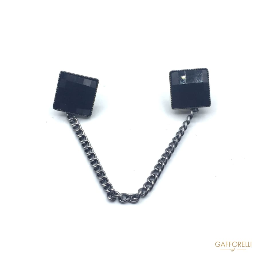 Square Cufflink with Rhinestones and Pendant Chain 9 Cm -