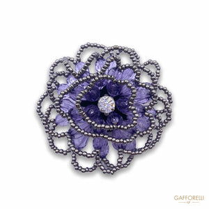 Stones Brooch Jewel Flower and Beads with Central