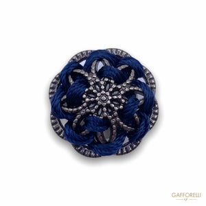 Vintage Metal Button with Blue Ribbon B165 - Gafforelli Srl