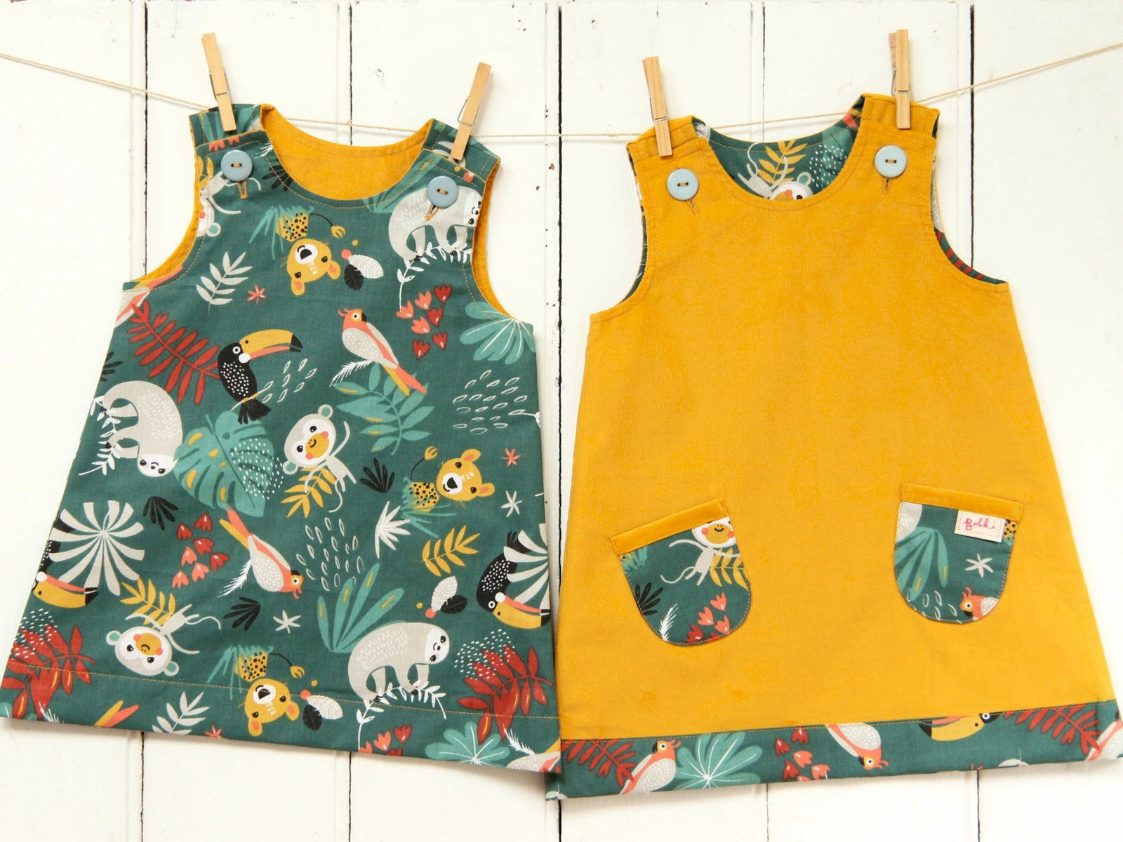 Mustard Jungle Sloths Needlecord Dress - Dress - Bobbi Handmade Children's Clothes