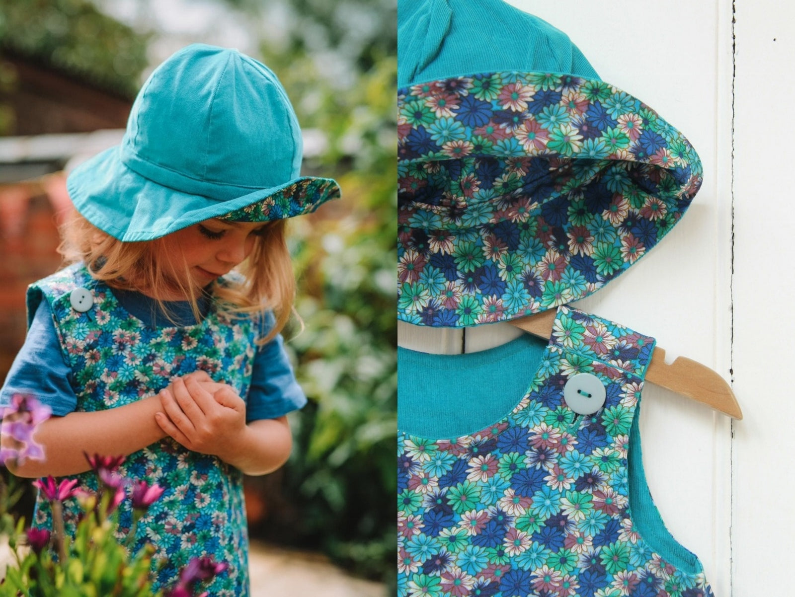 Blue Daisy Needlecord Hat