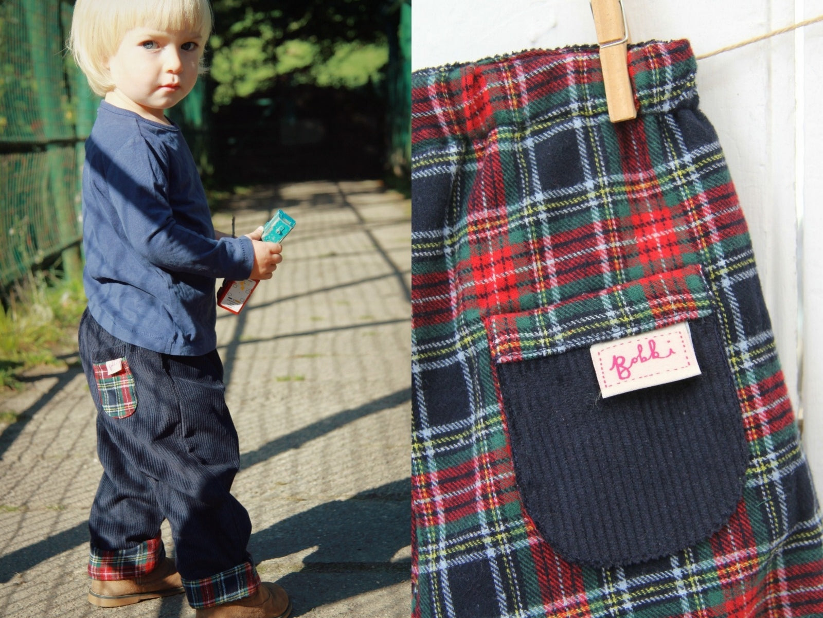 Navy Tartan Cord Trousers - Trousers - Bobbi Handmade Children's Clothes