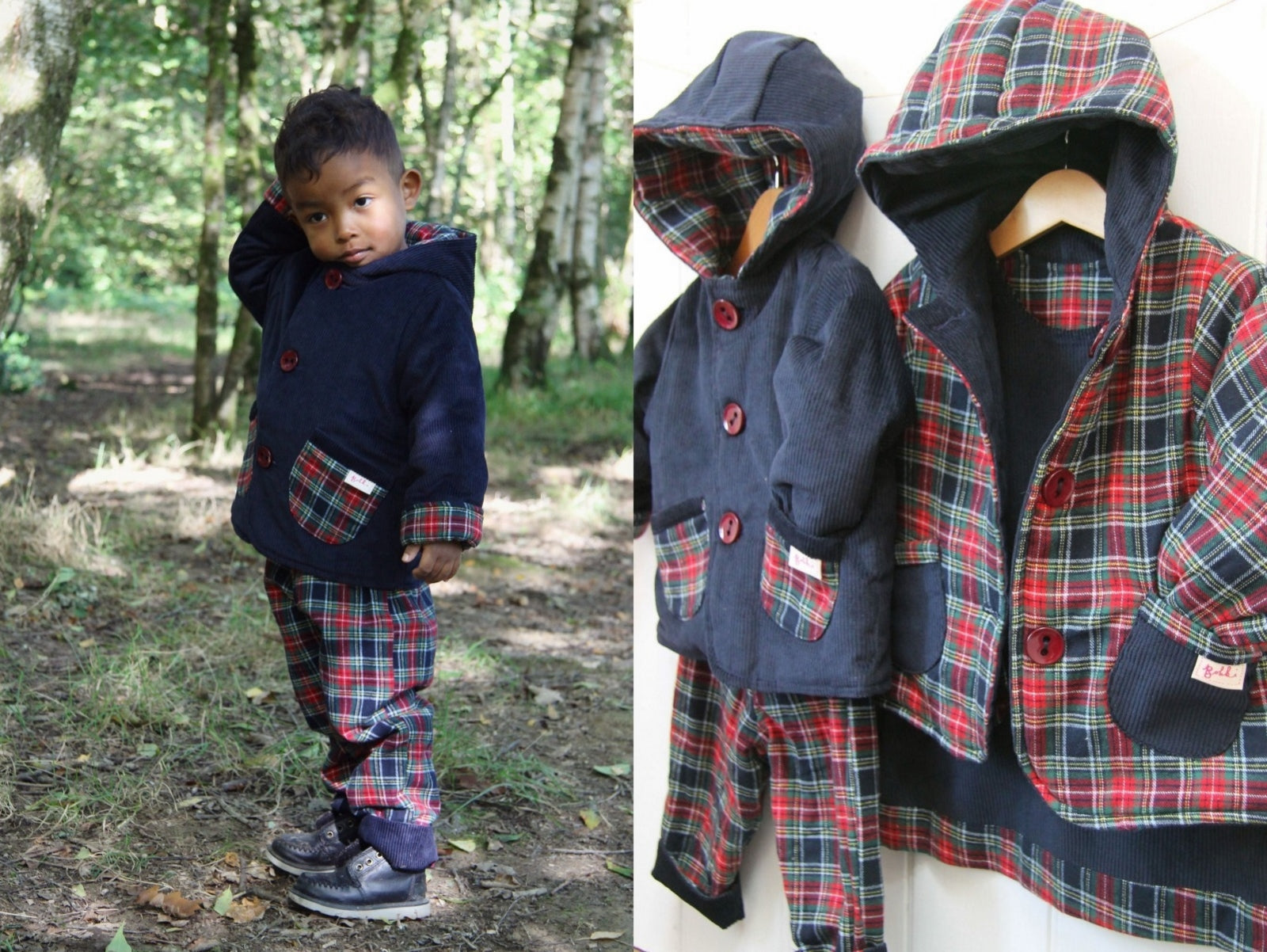 Navy Tartan Cord Jacket - Jacket - Bobbi Handmade Children's Clothes