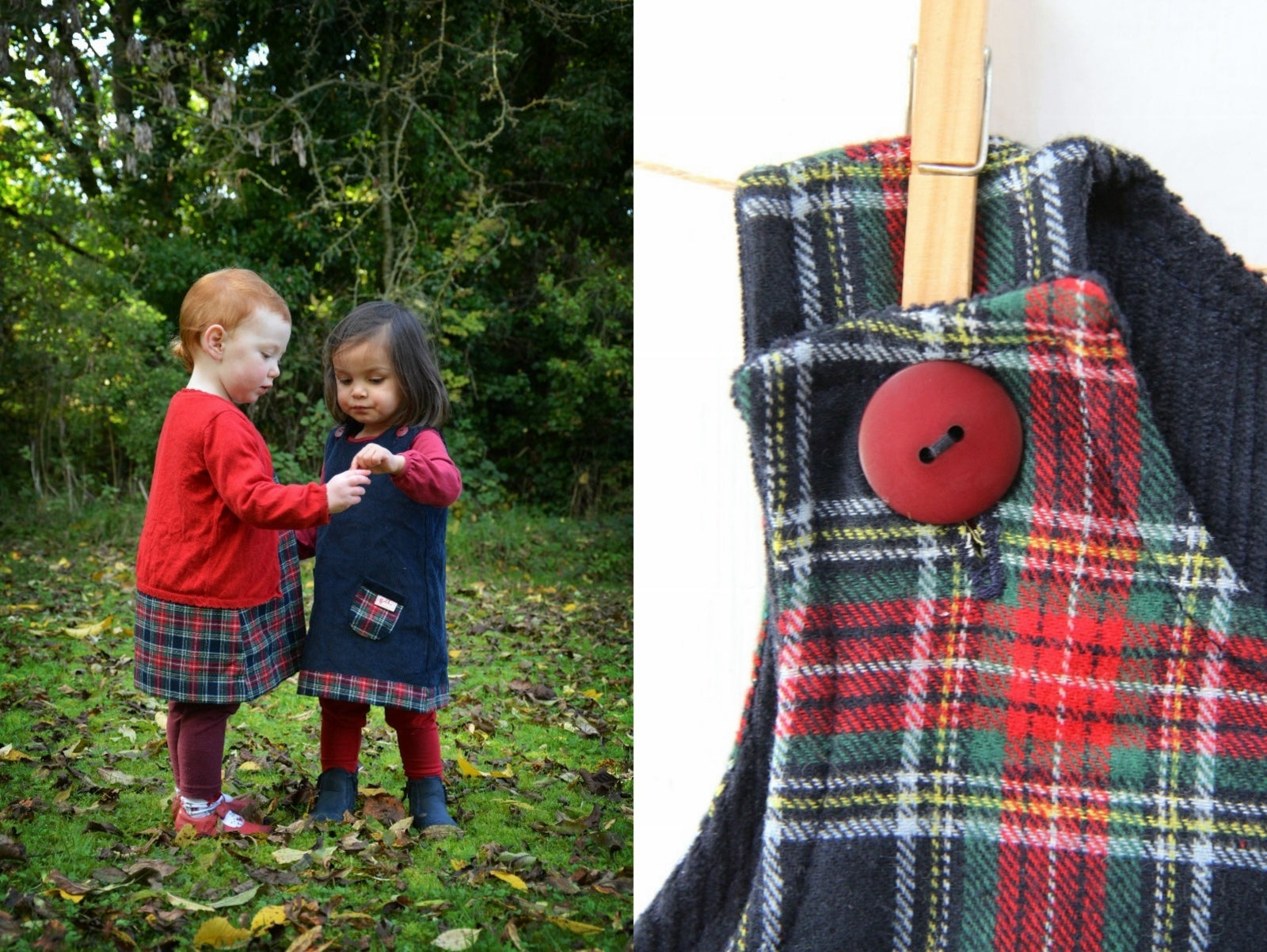 Navy Tartan Cord Dress