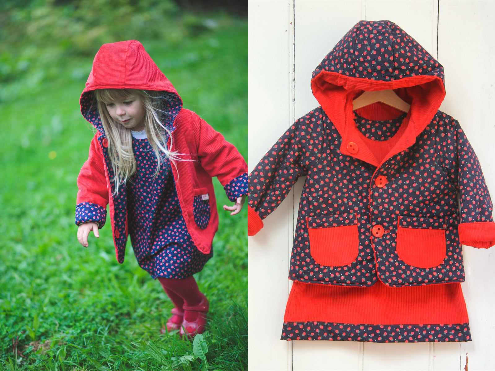Strawberry Cord Jacket - Jacket - Bobbi Handmade Children's Clothes