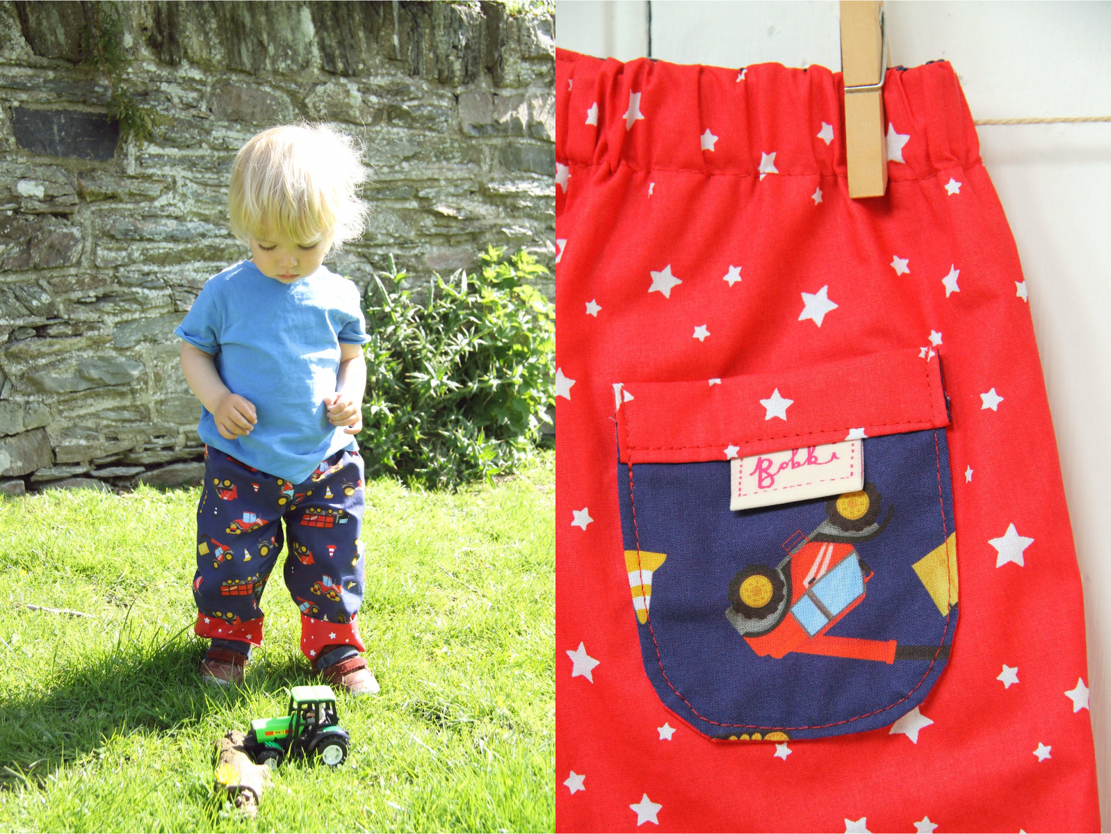 Starry Trucks Trousers - Trousers - Bobbi Handmade Children's Clothes