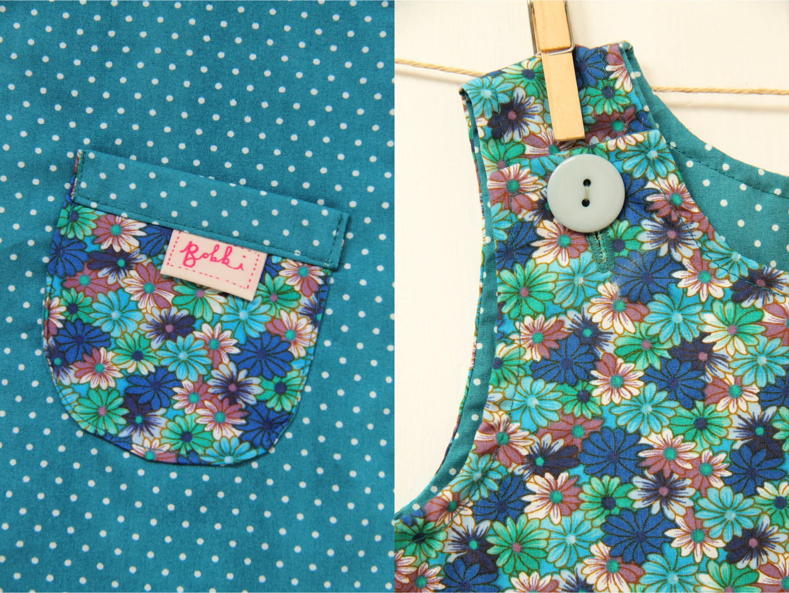 Spotty Blue Daisy Dress - Dress - Bobbi Handmade Children's Clothes