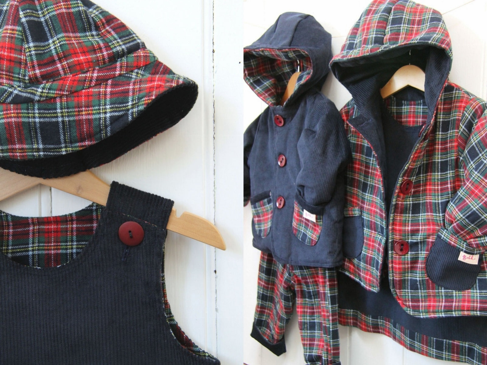 Navy Tartan Cord Dress - Dress - Bobbi Handmade Children's Clothes