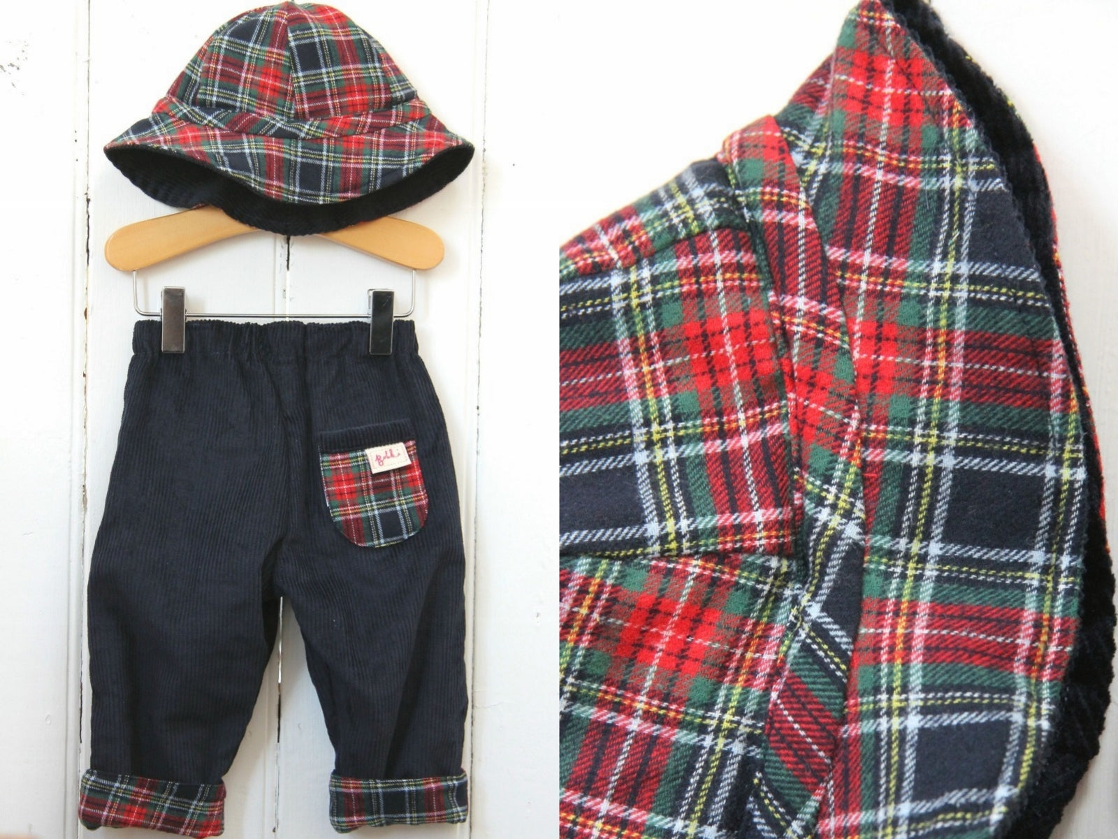 Navy Tartan Cord Hat - Hat - Bobbi Handmade Children's Clothes