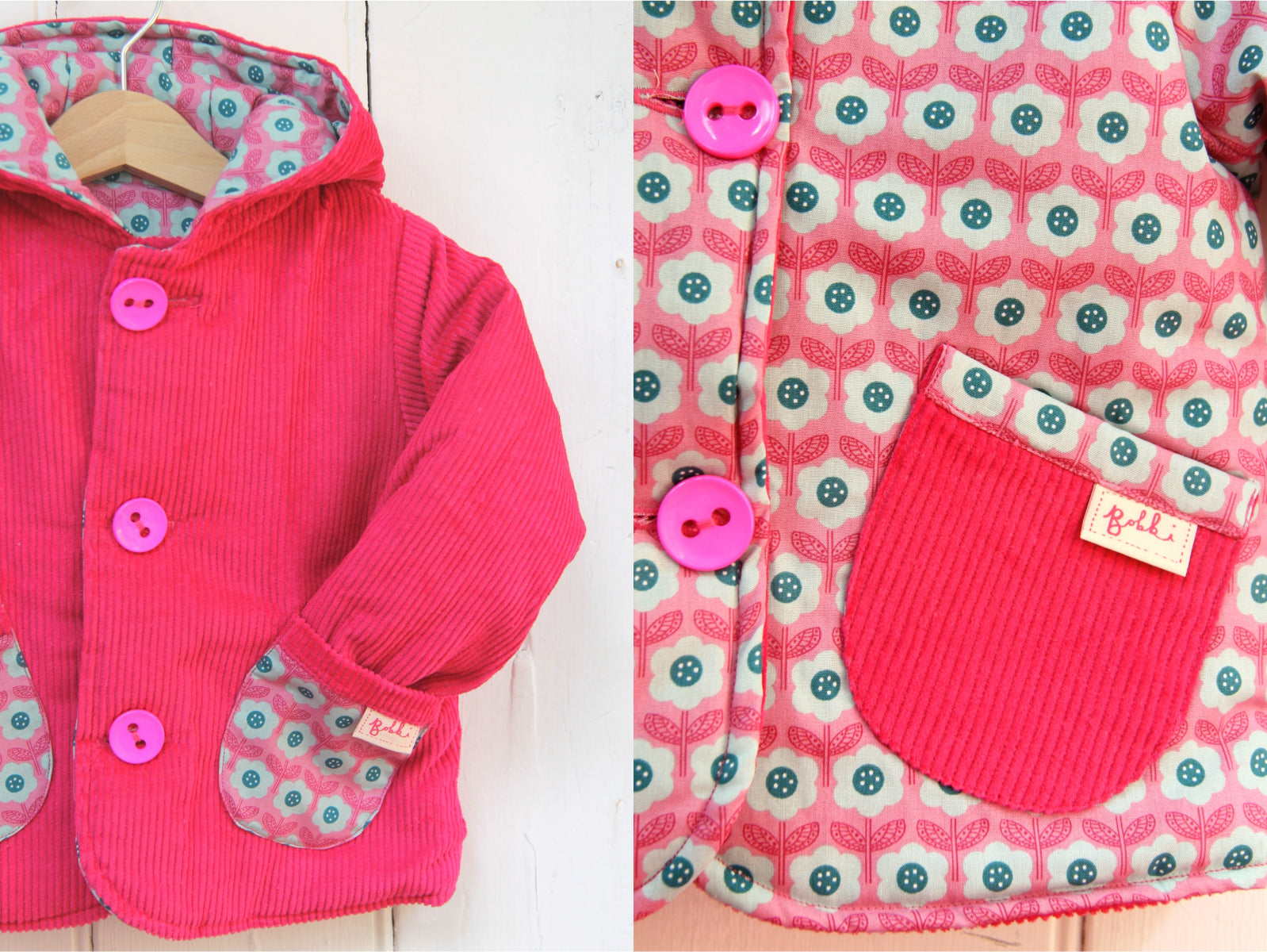 Pink Daisy Cord Jacket - Jacket - Bobbi Handmade Children's Clothes