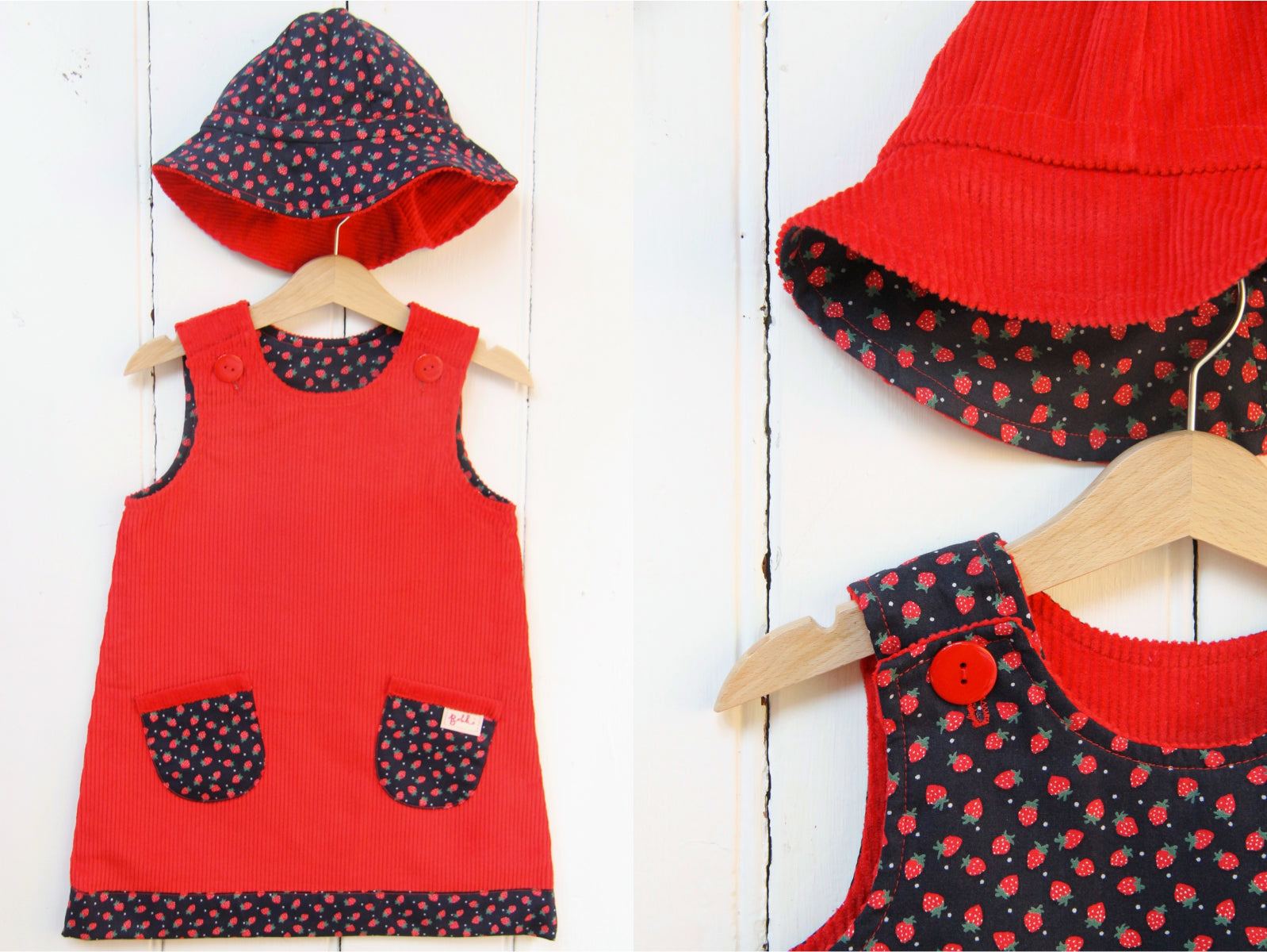 Strawberry Cord Hat - Hat - Bobbi Handmade Children's Clothes