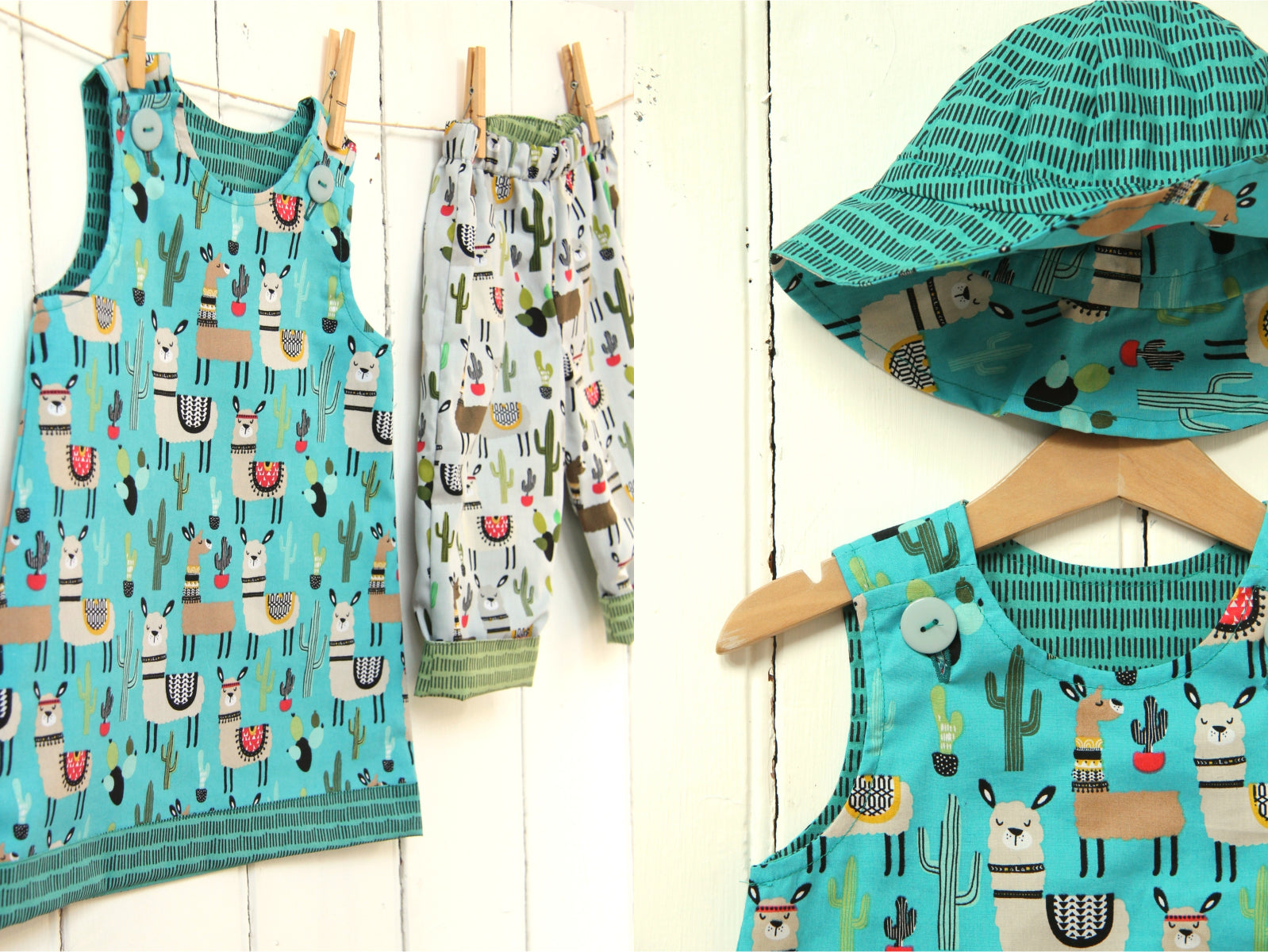 Blue Llama Lines Dress - Dress - Bobbi Handmade Children's Clothes