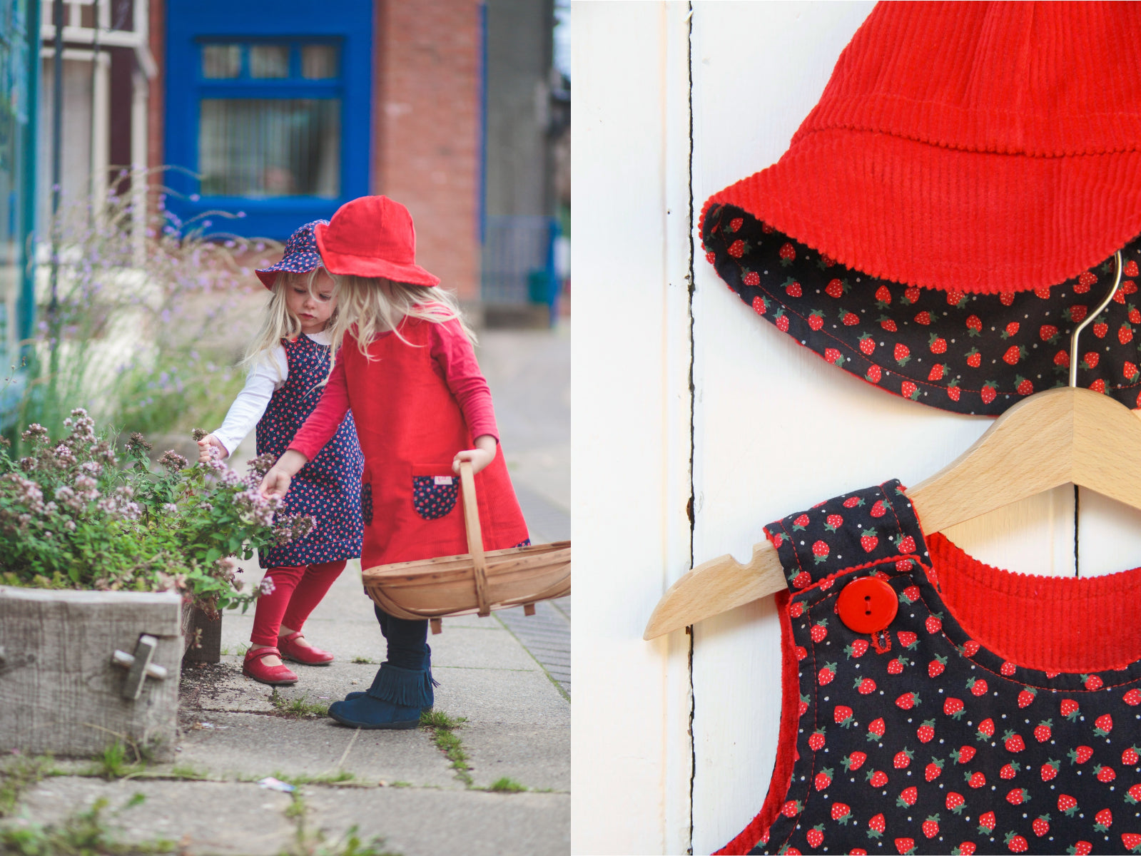 Strawberry Cord Dress - Dress - Bobbi Handmade Children's Clothes