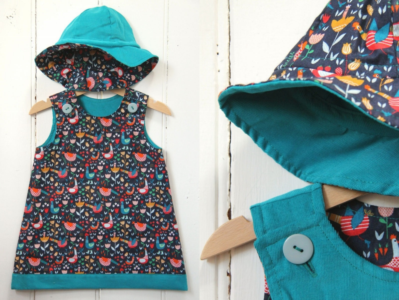 Turquoise Chickens Needlecord Hat - Hat - Bobbi Handmade Children's Clothes