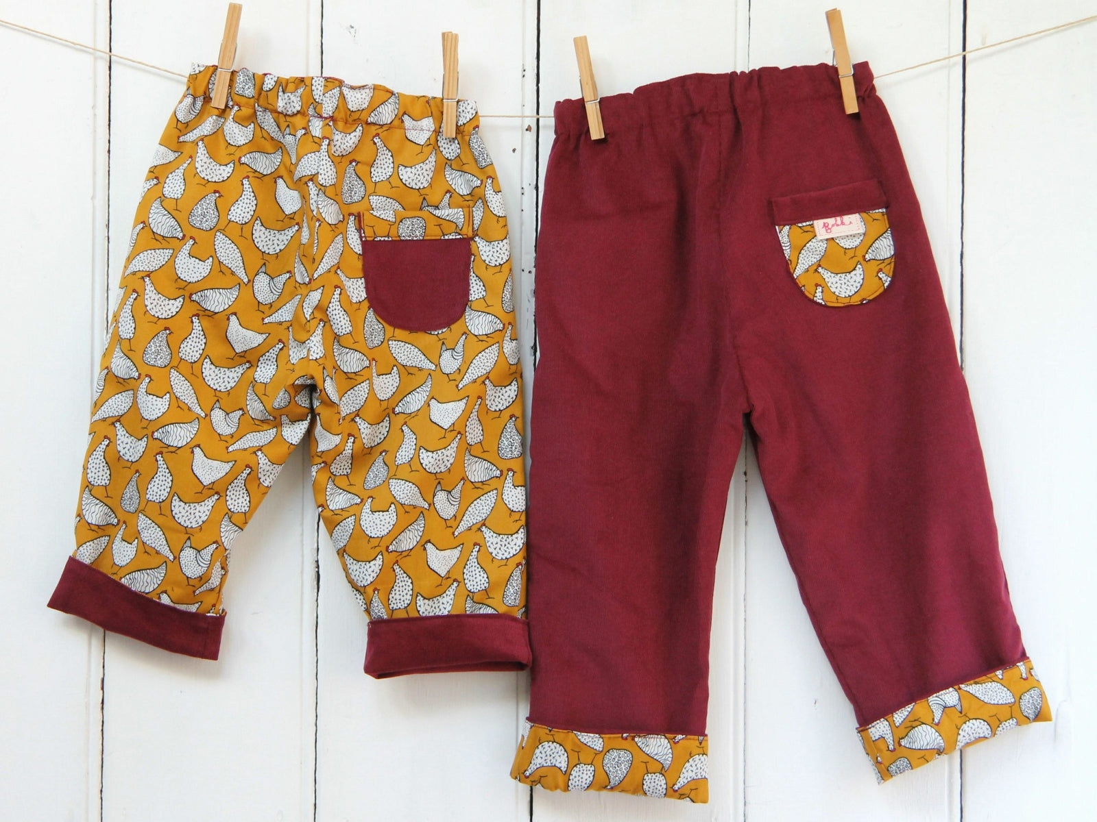 Mustard Hens Needlecord Trousers