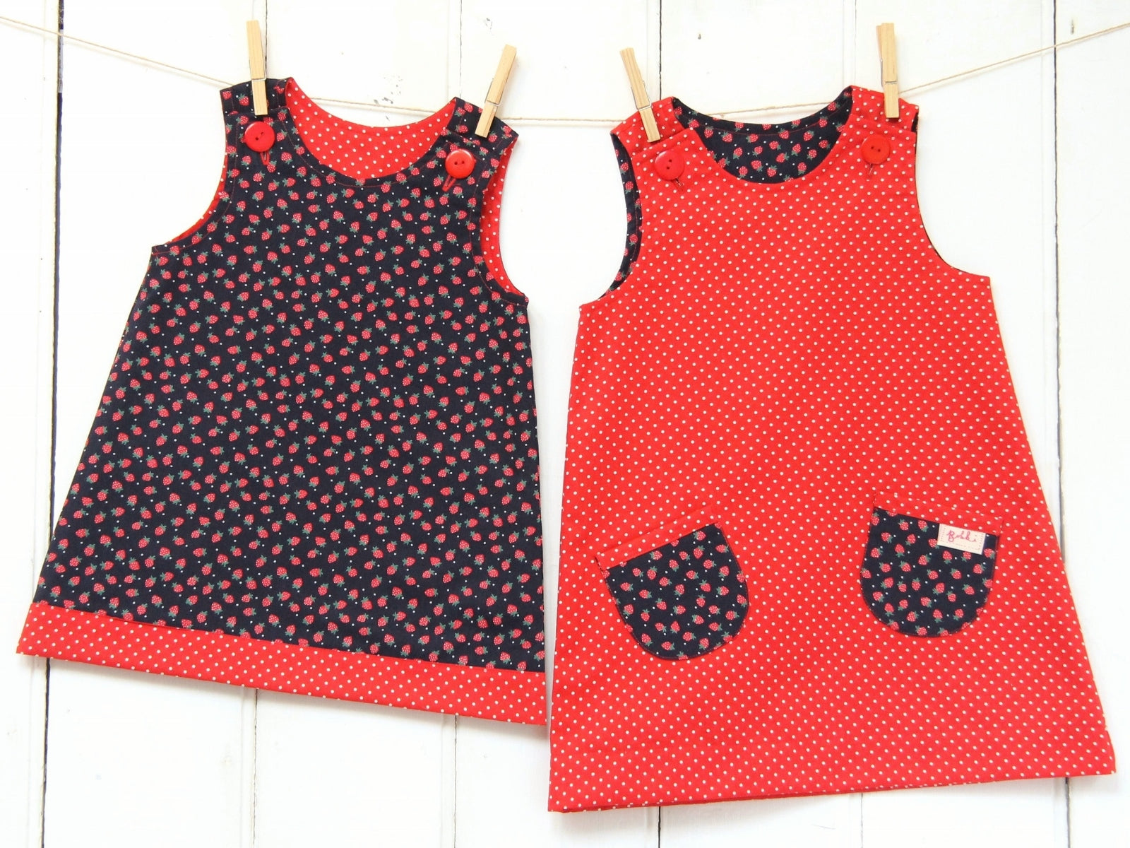 Strawberry Spot Dress - Dress - Bobbi Handmade Children's Clothes