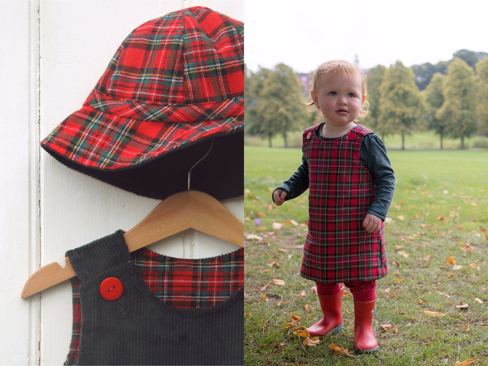 Green Tartan Cord Dress - Dress - Bobbi Handmade Children's Clothes