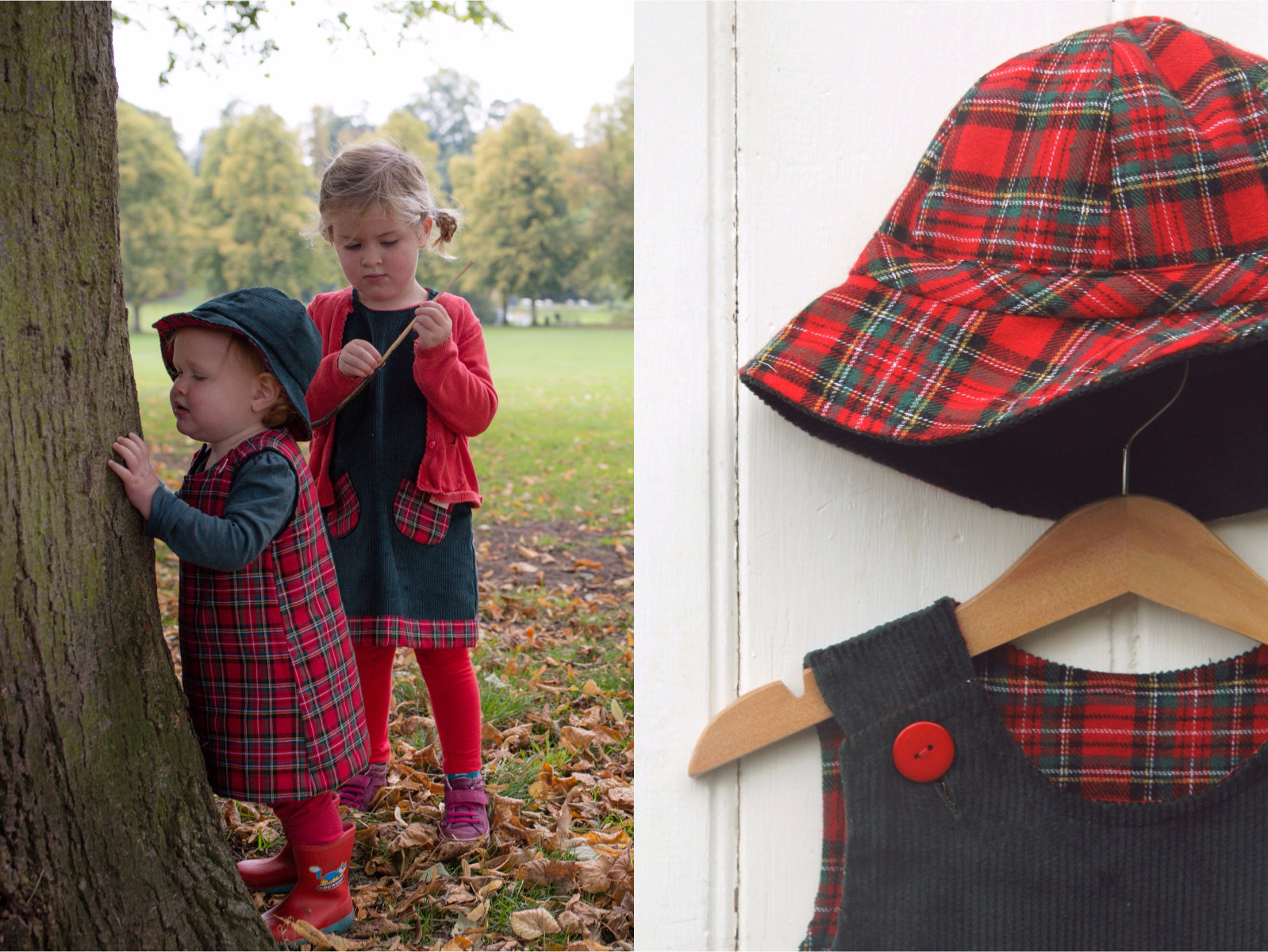 Green Tartan Cord Hat - Hat - Bobbi Handmade Children's Clothes