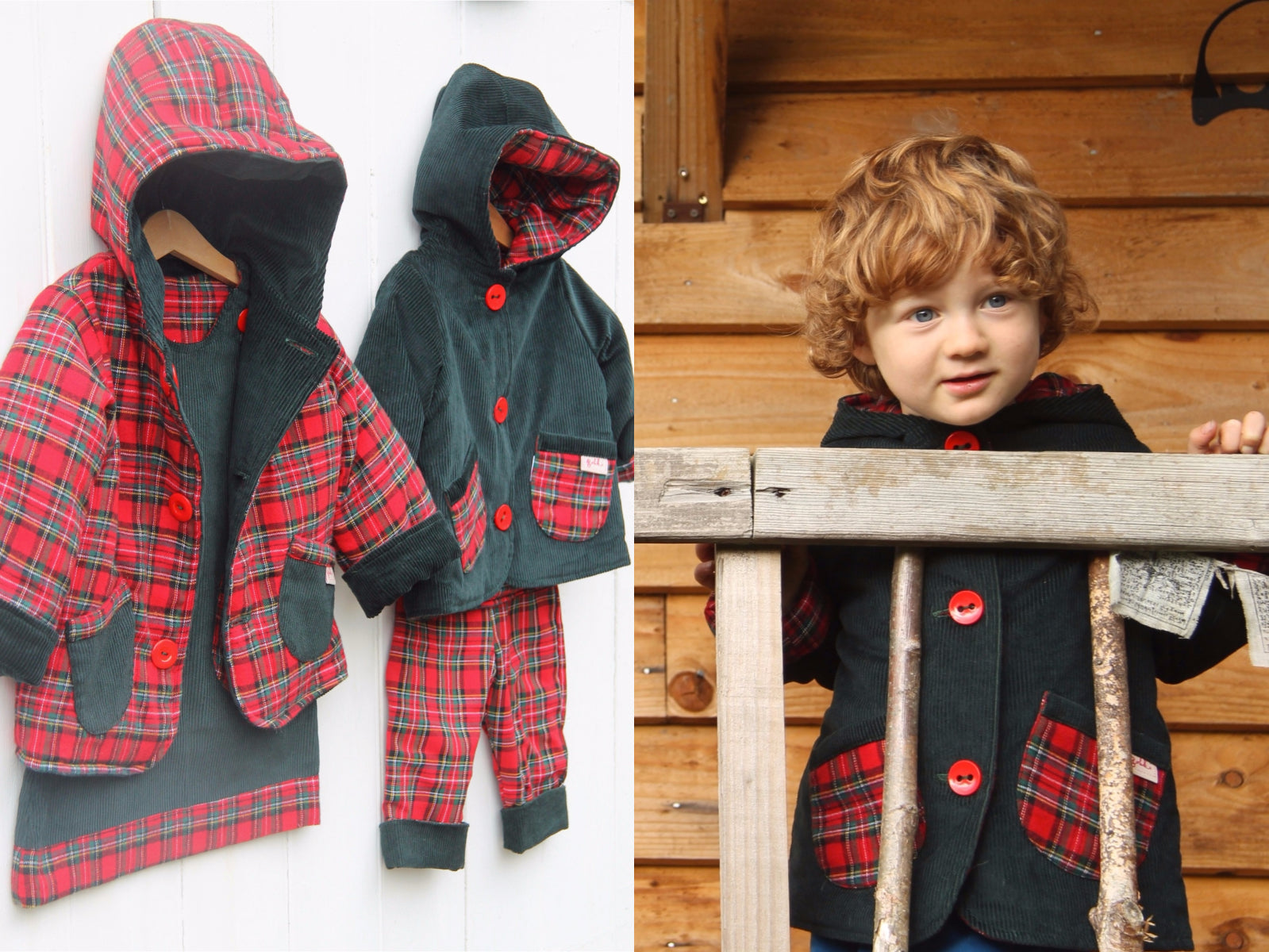 Green Tartan Cord Jacket - Jacket - Bobbi Handmade Children's Clothes