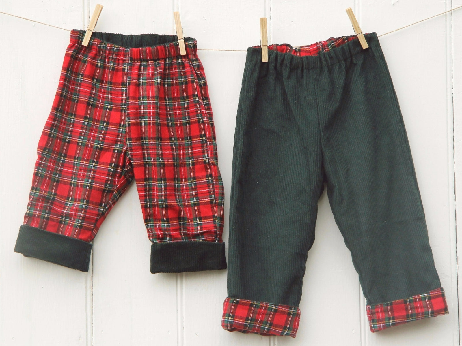 Green Tartan Cord Trousers - Trousers - Bobbi Handmade Children's Clothes