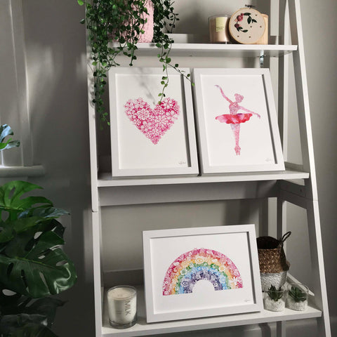 heart ballerina and rainbow artwork for girls room by hayley lauren design free shipping aus wide