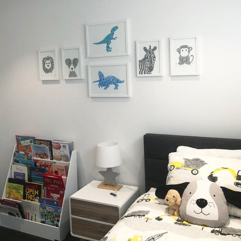 idea for baby boys room, young boys bedroom, toddlers room, playroom, dinosaur obsessed child by hayley lauren deisgn