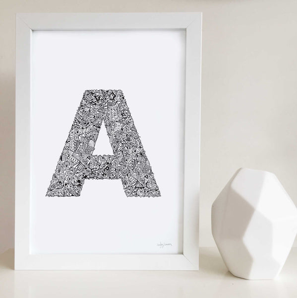 Geometric Letter A Wall Art Print