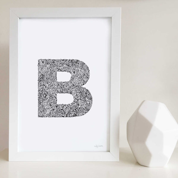 Geometric Letter B Wall Art Print